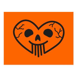 Halloween Skull Heart Postcard