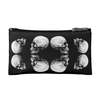 Halloween Skull Protection Bones Profile Round Makeup Bag