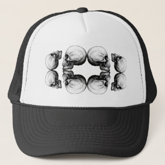 Halloween Skull Protection Bones Profile Round Trucker Hat