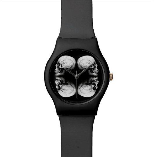 Halloween Skull Protection Bones Profile Round Watch
