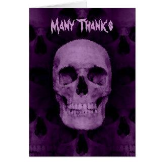 Halloween skull thanks note card