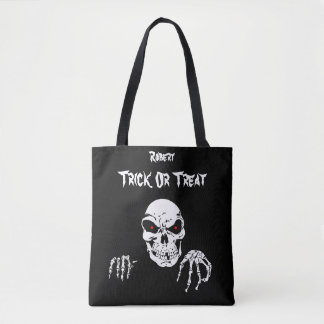 Halloween Skull Trick or Treat Tote Bag