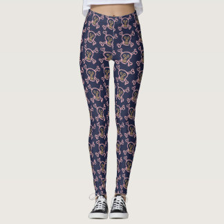 Halloween Skull with Bone Dark Blue Leggings