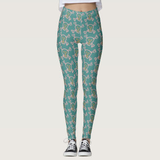 Halloween Skull with Bone Green Leggings