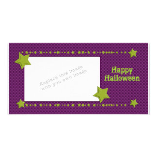 Halloween Skulls and Stars Personalised Photo Card