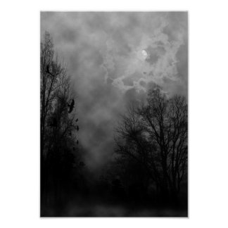 Halloween Sky with Ravens Poster