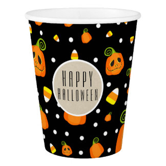 Halloween Smiley Pumpkins Whimsical Pattern Party Paper Cup