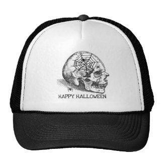 HALLOWEEN SMILING SKULL N SPIDERS VINTAGE PRINT CAP