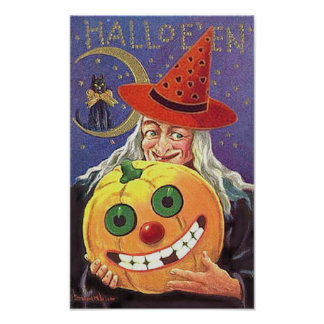 Halloween Smiling Witch and Pumpkin Print
