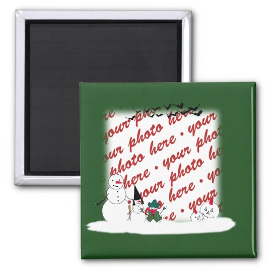 Halloween Snowmen Photo Frame Square Magnet