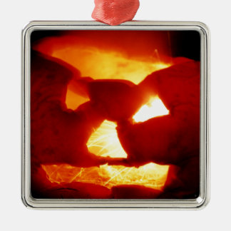 Halloween  sparky pumpkin Silver-Colored square decoration