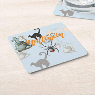Halloween Spider Grave Square Paper Coaster