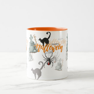 Halloween Spider Grave Two-Tone Coffee Mug