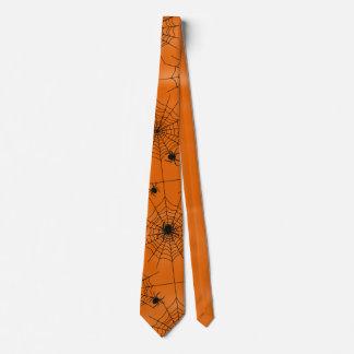 Halloween Spider Web Many Spiders on Orange Tie
