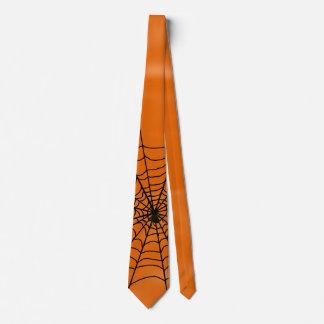 Halloween Spider Web on Orange Tie