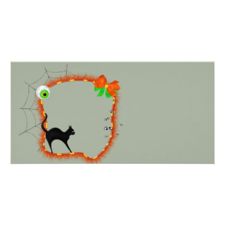 Halloween Spider Web with eyeballs Customized Photo Card