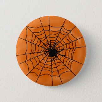 Halloween Spider Web with Spider on Orange 6 Cm Round Badge