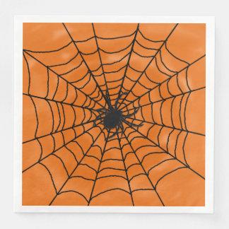 Halloween Spider web with Spider on Orange Paper Napkin