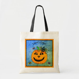 Halloween Spider Witch and Pumpkin Trick or Treat Tote Bag