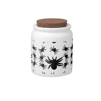 Halloween Spiders Grid Pattern Candy Jar