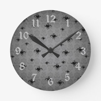 Halloween spiders on gray faded elegant damask round clock