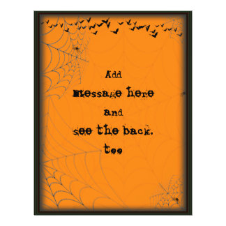 Halloween Spiderwebs & Bats Scene Silhouette 21.5 Cm X 28 Cm Flyer