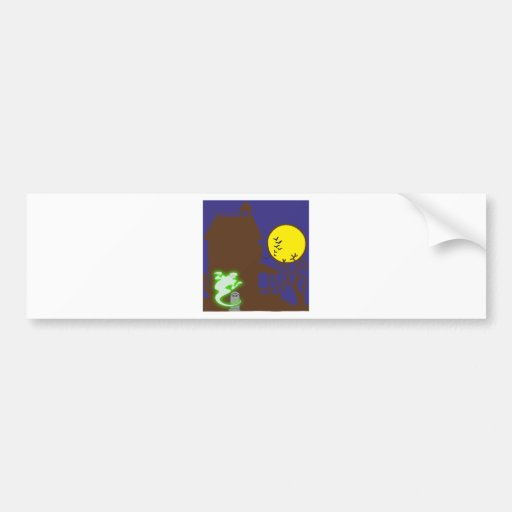 Halloween spook house striking Ted mansion Bumper Stickers