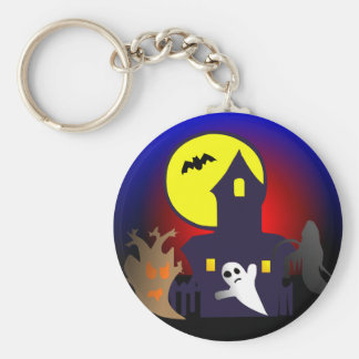 Halloween spook house striking Ted mansion Key Chains