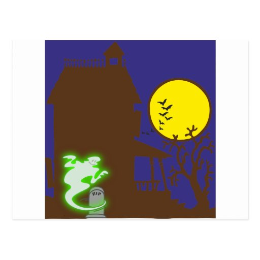 Halloween spook house striking Ted mansion Postcards