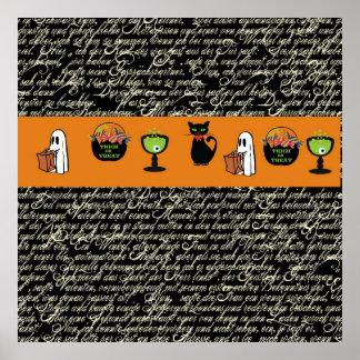 Halloween Spookey Writing with Orange Stripe Print