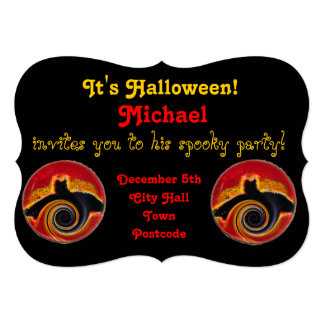 Halloween Spooky Bats in a spin 5x7 Paper Invitation Card