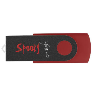 Halloween Spooky Bats Skeletons Red Trick Treat USB Flash Drive