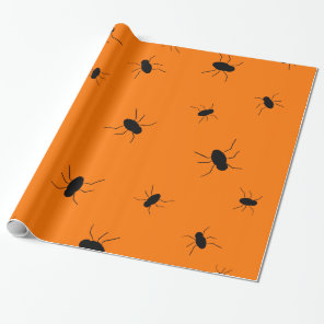 Halloween Spooky Bugs Orange Wrapping Paper