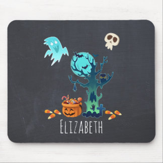 Halloween Spooky Creepy Ghosts Bats Skulls & Candy Mouse Pad