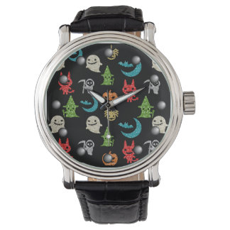 Halloween Spooky Cute Characters Glitter Collage Watches