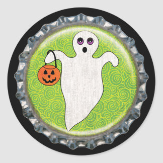 Halloween Spooky Ghost Trick-or-treater Bottle Cap Classic Round Sticker