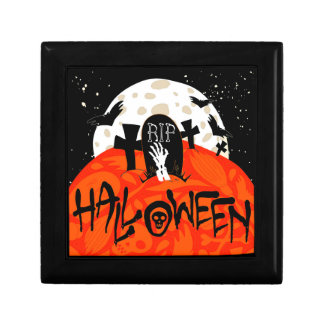Halloween Spooky Graveyard Bats Zombie Moon Gift Box