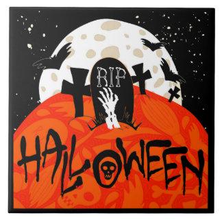 Halloween Spooky Graveyard Bats Zombie Moon Tile