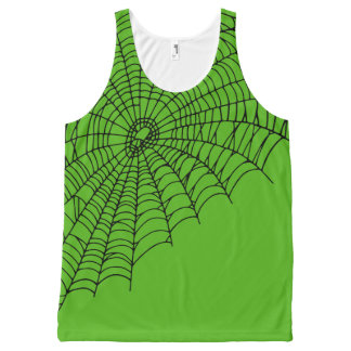 Halloween Spooky Green Spiderweb All-Over Print Tank Top