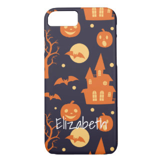 Halloween Spooky House Bats Trees Pumpkin Pattern iPhone 7 Case