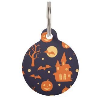 Halloween Spooky House Bats Trees Pumpkin Pattern Pet Name Tags