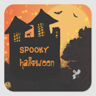Halloween Spooky House| Cat | Moon | Bat | Ghost Square Sticker