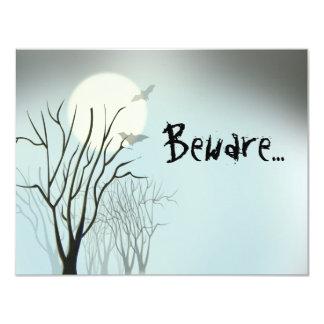 "Halloween Spooky Moon 4.25"" X 5.5"" Invitation Card"