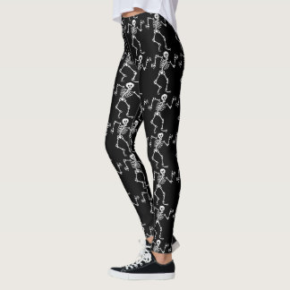 Halloween Spooky Skeleton Pattern Black Silly Leggings