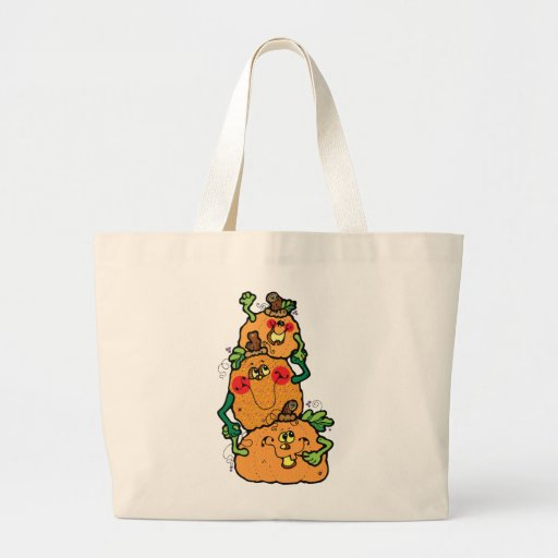 halloween stacked pumpkins Large Tote Bag