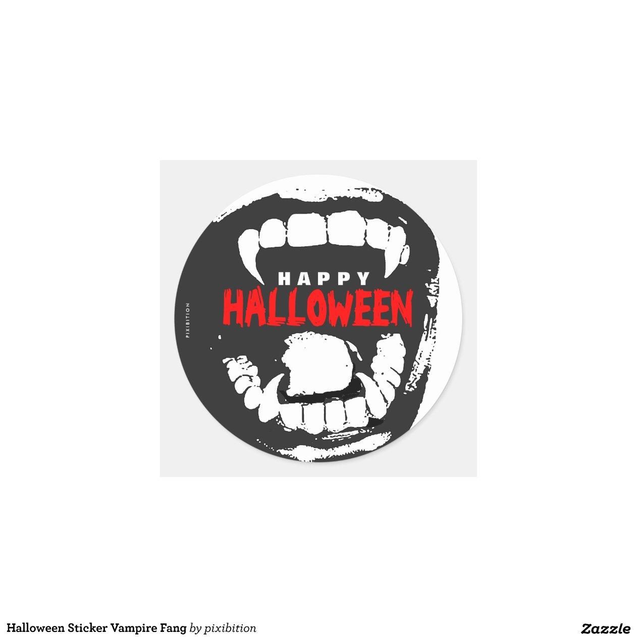 Halloween sticker vampire fang zazzle