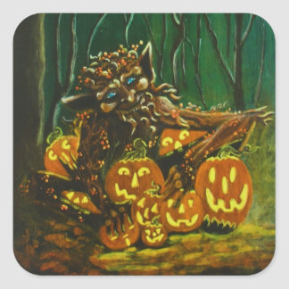 Halloween stickers,troll,knome,elf square sticker