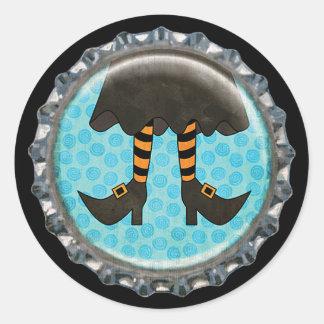 Halloween Striped Witch Legs Bottle Cap Classic Round Sticker