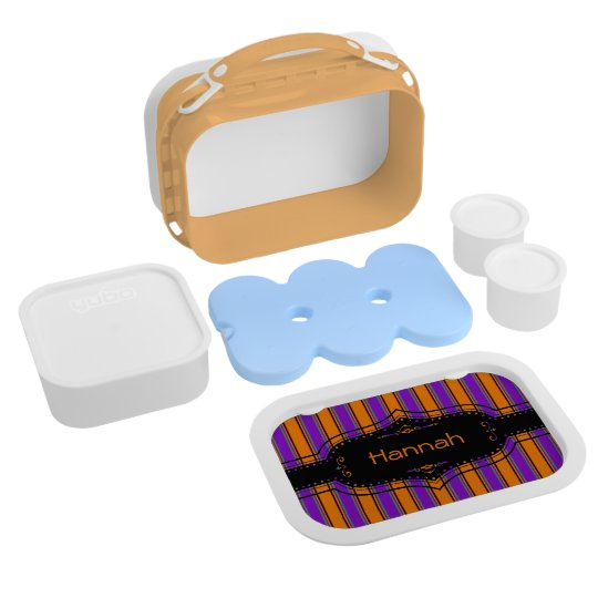 Halloween Stripes Too Personalised Lunch Box