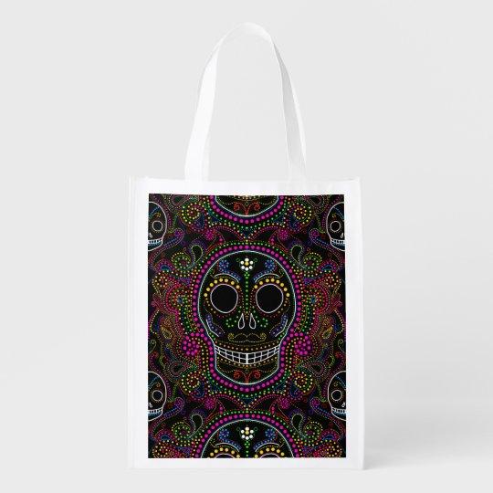 Halloween sugar skull reusable tote treat bag